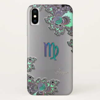 Zodiac Sign Virgo Silver Fractal iPhone X Case