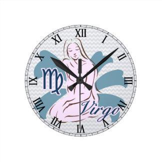 Zodiac Sign Virgo Symbol Round Clock