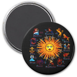 Zodiac-Signs-All-V-1 3 Inch Round Magnet