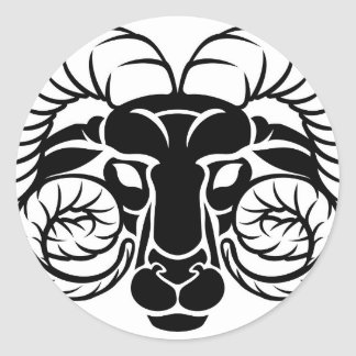 Zodiac Signs Aries Icon Classic Round Sticker