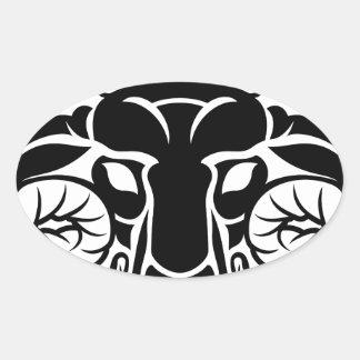 Zodiac Signs Aries Icon Oval Sticker