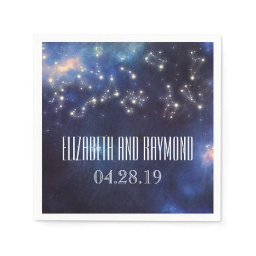 Wedding Themed Zodiac Signs | Constellation Starry Night Wedding Paper Napkin