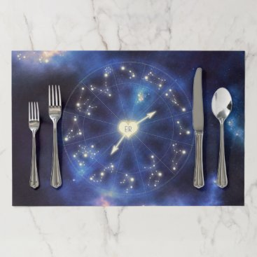 Wedding Themed Zodiac Signs | Constellation Starry Night Wedding Paper Placemat