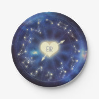 Zodiac Signs | Constellation Starry Night Wedding Paper Plate