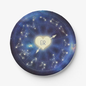 Wedding Themed Zodiac Signs | Constellation Starry Night Wedding Paper Plate