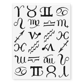 Zodiac signs temporary tattoos
