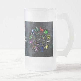 Zodiac signs together frosted glass beer mug