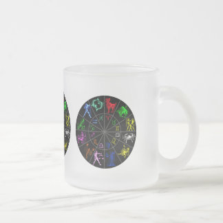 Zodiac signs together frosted glass coffee mug