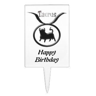 Zodiac Star Sign Taurus Birthday Cake Picks