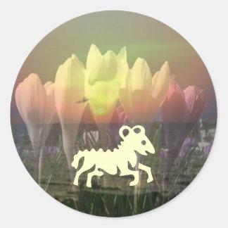 ZODIAC STBX Assembly - Floral Sunset Theme Classic Round Sticker