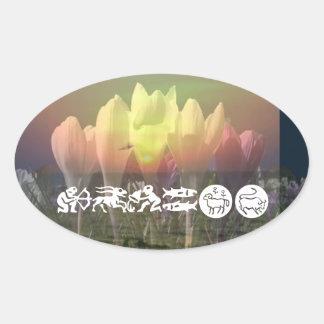 ZODIAC STBX Assembly - Floral Sunset Theme Oval Sticker