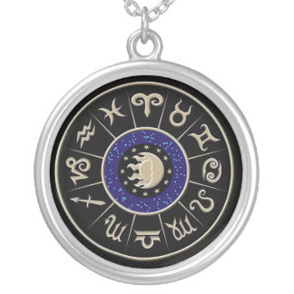 Zodiac Symbol Wheel Silver Plated Necklace