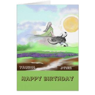 Zodiac, Taurus, bull, happy birthday Card