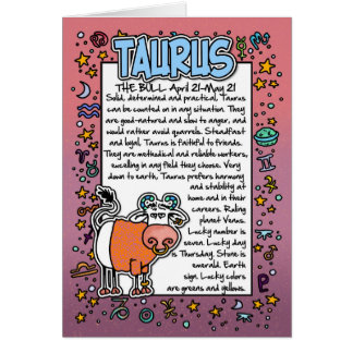 Zodiac - Taurus Fun Facts Card