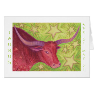 Zodiac Taurus 'Happy Birthday' white border Card