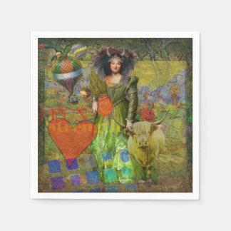 Zodiac Taurus Whimsical Funny Surreal Celestial Napkin