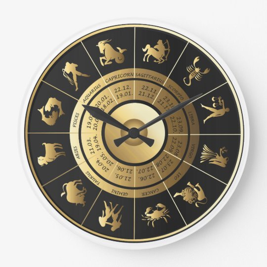 Zodiac Wall Clock Black Amp Gold Zazzle Com