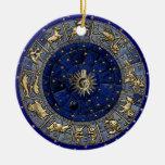 Zodiac Wheel Double-Sided Ceramic Round Christmas Ornament