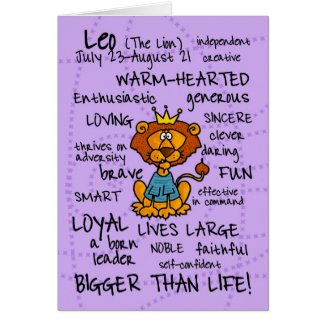 zodiac word cards - leo