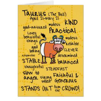 zodiac word cards - taurus