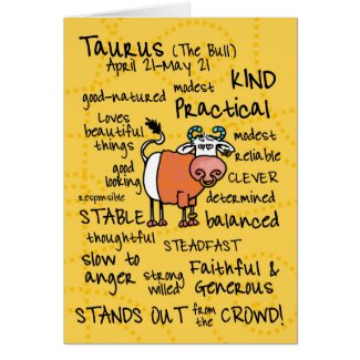 zodiac word cards - taurus