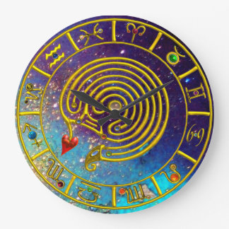 ZODIACAL SIGNS ,GOLD ASTRAL HYPER LABYRINTH Blue Large Clock