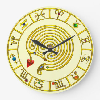 ZODIACAL SIGNS ,GOLD ASTRAL HYPER LABYRINTH Cream Large Clock