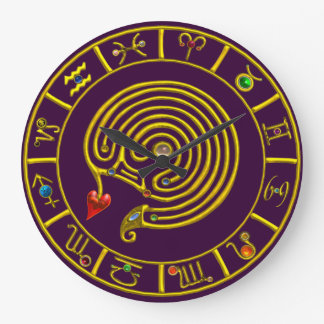 ZODIACAL SIGNS ,GOLD ASTRAL HYPER LABYRINTH Purple Large Clock