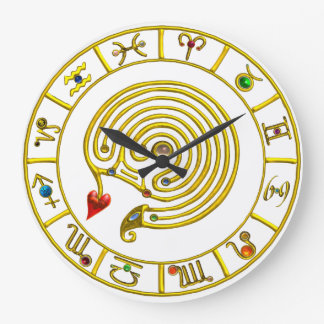 ZODIACAL SIGNS ,GOLD ASTRAL HYPER LABYRINTH White Large Clock