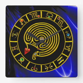 ZODIACAL SIGNS ,GOLD ASTRAL LABYRINTH Black Blue Square Wall Clock