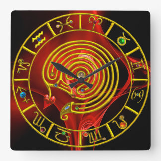 ZODIACAL SIGNS,GOLD ASTRAL LABYRINTH RED FRACTAL SQUARE WALL CLOCK