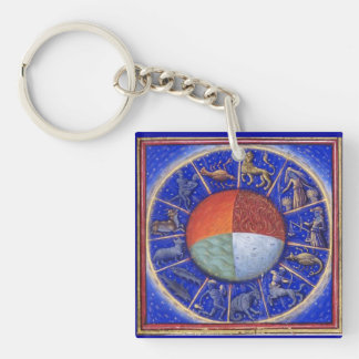 ZODIACAL SIGNS WITH FOUR ELEMENTS Single-Sided SQUARE ACRYLIC KEYCHAIN