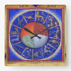 ZODIACAL SIGNS WITH FOUR ELEMENTS SQUARE WALLCLOCK