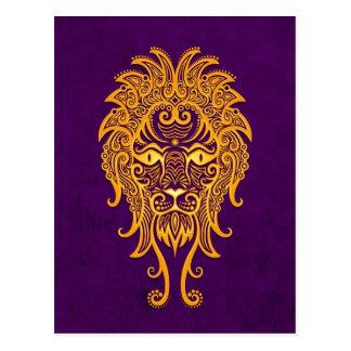 Zodiaco amarillo complejo de Leo en púrpura Postal