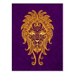 Zodiaco amarillo complejo de Leo en púrpura Tarjeta Postal