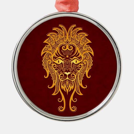 Zodiaco amarillo complejo de Leo en rojo Ornamentos De Navidad