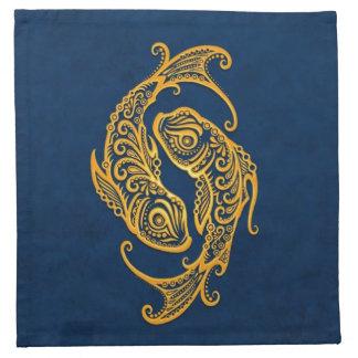 Zodiaco amarillo complejo de Piscis en azul Servilletas