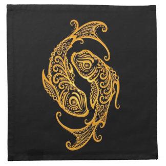 Zodiaco amarillo complejo de Piscis en negro Servilletas De Papel