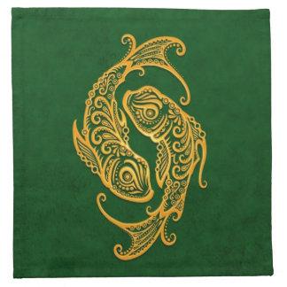 Zodiaco amarillo complejo de Piscis en verde Servilletas