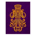 Zodiaco amarillo complejo del acuario en púrpura tarjetas postales