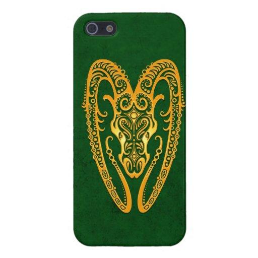 Zodiaco amarillo complejo del aries en verde iPhone 5 carcasas