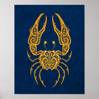 Zodiaco amarillo complejo del cáncer en azul póster