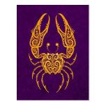 Zodiaco amarillo complejo del cáncer en púrpura postales