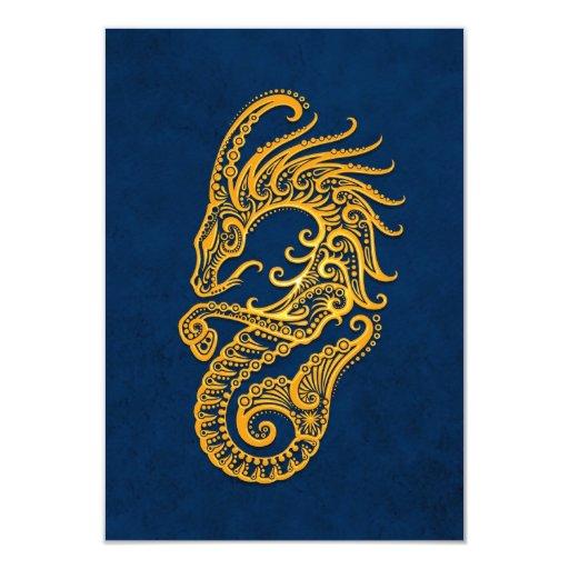 Zodiaco amarillo complejo del Capricornio en azul Invitación 8,9 X 12,7 Cm