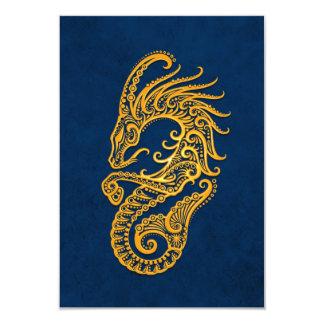 """Zodiaco amarillo complejo del Capricornio en azul Invitación 3.5"""" X 5"""""""