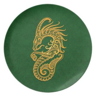 Zodiaco amarillo complejo del Capricornio en verde Platos Para Fiestas