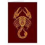 Zodiaco amarillo complejo del escorpión en rojo felicitación