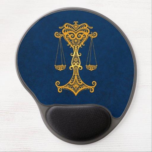 Zodiaco amarillo complejo del libra en azul alfombrillas de ratón con gel