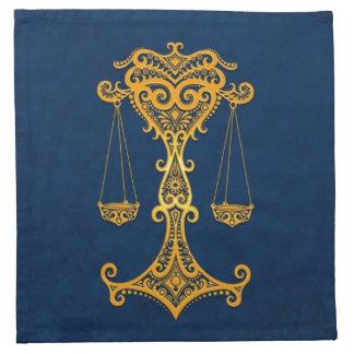 Zodiaco amarillo complejo del libra en azul servilletas