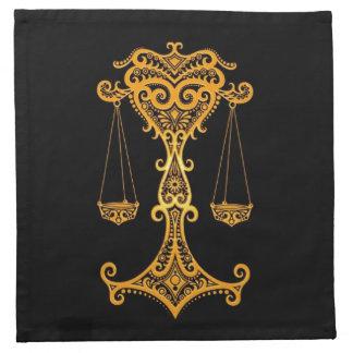 Zodiaco amarillo complejo del libra en negro servilletas